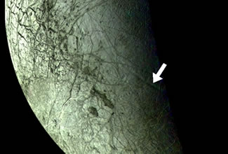 Fig. 2. The Voyager discovery mosaic showing part of one of two sets of concentric troughs on Europa. Until the Galileo mission, the origin of this feature and its relationship to Europa's other ubiquitous tectonic features remained a complete mystery.