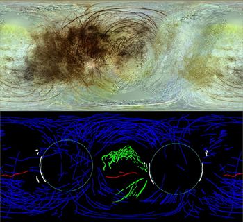 Fig. 4. A new global mosaic (top) and corresponding map (bottom) of Europa shows the symmetry of its global tectonic pattern.